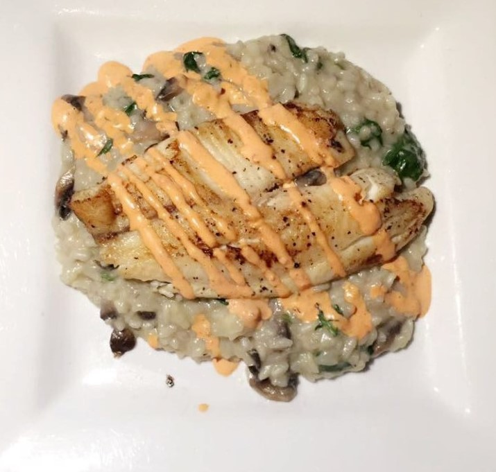 Grilled Tilapia with Spinach and Mushroom Risotto at deShas