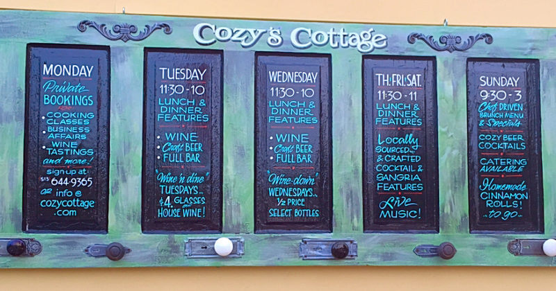Cozy's Cottage weekly specials