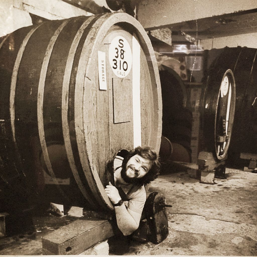 Man in Wine Barrell at Meier Winery