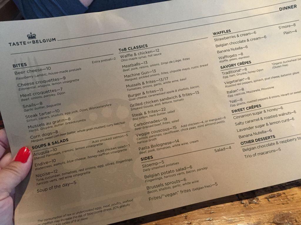 Taste of Belgium menu